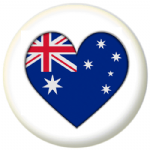Australia Country Flag Heart 25mm Pin Button Badge